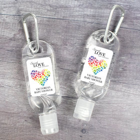 Personalized Hand Sanitizer with Carabiner 1 fl. oz bottle - Baby Shower Love Rainbow