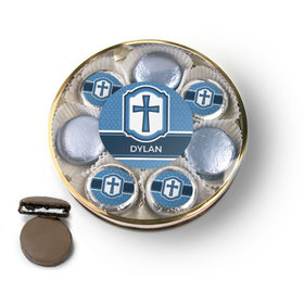Personalized Confirmation Blue Hexagonal Pattern Engraved Cross Chocolate Covered Oreo Cookies Large Plastic Tin