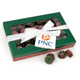 Personalized Christmas Add Your Logo Gourmet Belgian Chocolate Truffle Gift Box - 24 Truffles