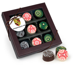 Personalized Christmas Add Your Logo Gourmet Belgian Chocolate Truffle Gift Box - 9 Truffles