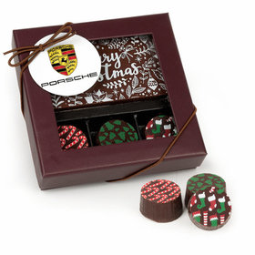 Personalized Christmas Add Your Logo Gourmet Belgian Chocolate Bar and Truffles - 3 Truffles