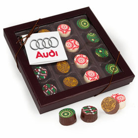 Personalized Christmas Gourmet Belgian Chocolate Truffle Gift Box (16 Truffles) - Add Your Logo