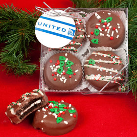 Personalized Gourmet Belgian Chocolate Covered Oreo Cookies Christmas Add Your Logo 4pc Gift Box