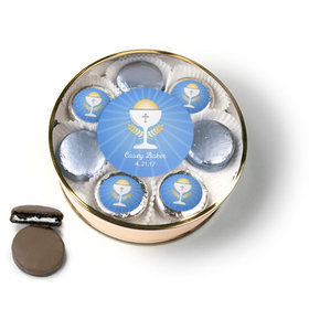 Personalized First Communion Blue Chalice & Holy Host Chocolate Covered Oreo Cookies Extra-Large Plastic Tin