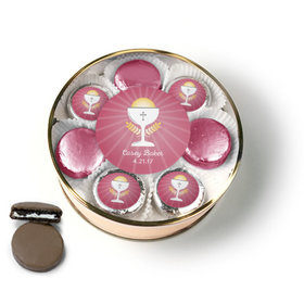 Personalized First Communion Pink Chalice & Holy Host Chocolate Covered Oreo Cookies Extra-Large Plastic Tin