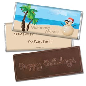 Happy Holidays Personalized Embossed Chocolate Bar Beach Wishes