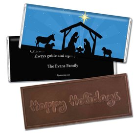 Christmas Personalized Embossed Chocolate Bar Holy Night Nativity