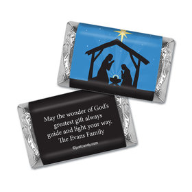 Christmas Personalized Hershey's Miniatures Wrappers Holy Night Nativity