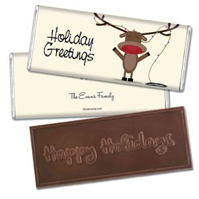 Happy Holidays Personalized Embossed Chocolate Bar Reindeer Holiday Greetings