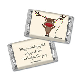 Happy Holidays Personalized Hershey's Miniatures Wrappers Reindeer Holiday Greetings