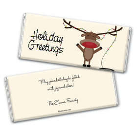 Happy Holidays Personalized Chocolate Bar Wrappers Reindeer Holiday Greetings