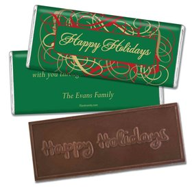 Happy Holidays Personalized Embossed Chocolate Bar Holiday Ribbons