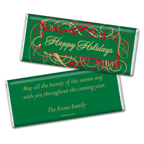 Happy Holidays Personalized Chocolate Bar Holiday Ribbons