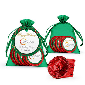 Christmas Red Chocolate Coins in Emerald Green Organza Bag - Add Your Logo