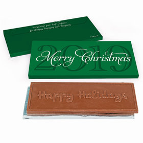 Deluxe Personalized Happy Holidays Year Chocolate Bar in Gift Box