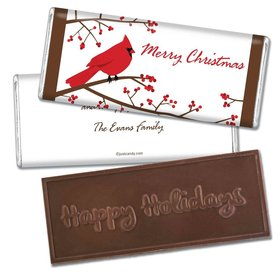 Happy Holidays Personalized Embossed Chocolate Bar Red Cardinal