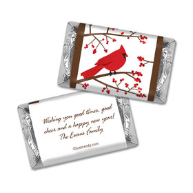 Happy Holidays Personalized Hershey's Miniatures Wrappers Red Cardinal