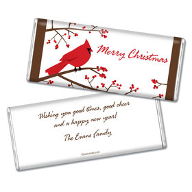 Happy Holidays Personalized Chocolate Bar Red Cardinal