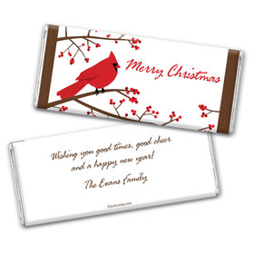 Happy Holidays Personalized Chocolate Bar Wrappers Red Cardinal