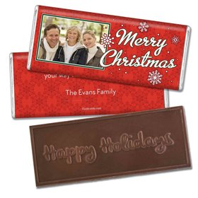 Christmas Personalized Embossed Chocolate Bar Merry Christmas Photo