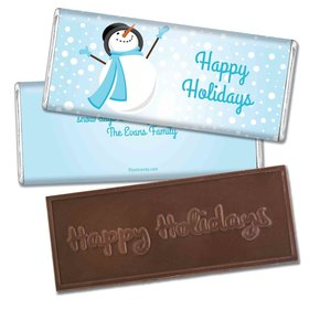 Happy Holidays Personalized Embossed Chocolate Bar Happy Holidays Frosty Snowman