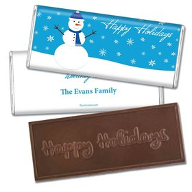Happy Holidays Personalized Embossed Chocolate Bar Happy Holidays Snowman