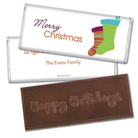 Christmas Personalized Embossed Chocolate Bar Merry Christmas Stockings