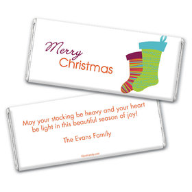 Christmas Personalized Chocolate Bar Wrappers Merry Christmas Stockings