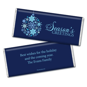 Happy Holidays Personalized Chocolate Bar Season's Greetings Snowflake Ornament