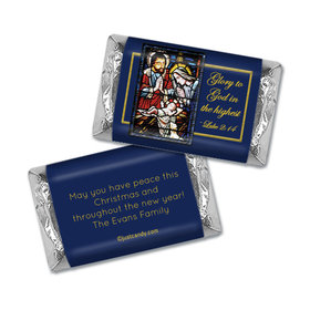 Christmas Personalized Hershey's Miniatures Wrappers Holy Night Stained Glass Nativity
