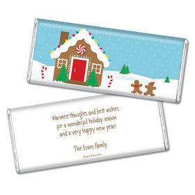 Happy Holidays Personalized Chocolate Bar Gingerbread House
