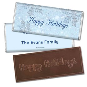 Happy Holidays Personalized Embossed Chocolate Bar Classic Snowflakes Happy Holidays