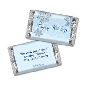 Happy Holidays Personalized Hershey's Miniatures Wrappers Classic Snowflakes Happy Holidays