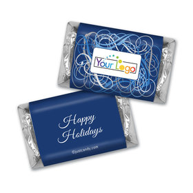 Happy Holidays Personalized Hershey's Miniatures Winter Scrolls with Business Logo