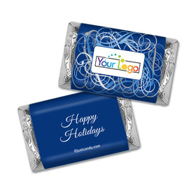 Happy Holidays Personalized Hershey's Miniatures Wrappers Winter Scrolls with Business Logo