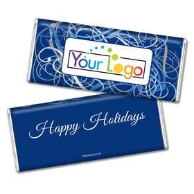 Happy Holidays Personalized Chocolate Bar Winter Scrolls with Business Logo