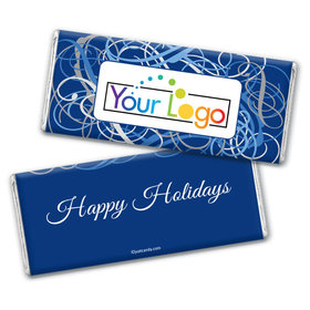 Happy Holidays Personalized Chocolate Bar Wrappers Winter Scrolls with Business Logo