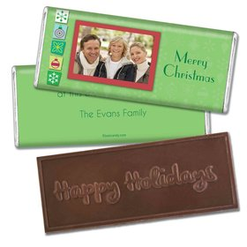 Christmas Personalized Embossed Chocolate Bar Christmas Cutouts with Photo