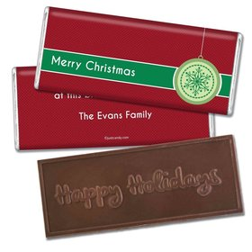 Christmas Personalized Embossed Chocolate Bar Merry Christmas Traditional