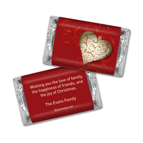 Happy Holidays Personalized Hershey's Miniatures Wrappers Scrolled Heart Holiday Wishes