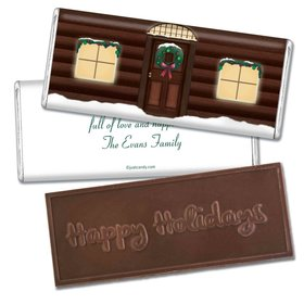 Happy Holidays Personalized Embossed Chocolate Bar Log Cabin Holiday Home