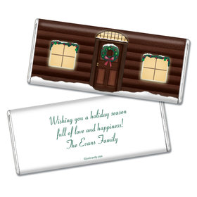 Happy Holidays Personalized Chocolate Bar Log Cabin Holiday Home