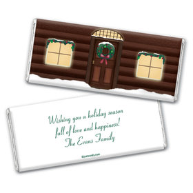 Happy Holidays Personalized Chocolate Bar Wrappers Log Cabin Holiday Home