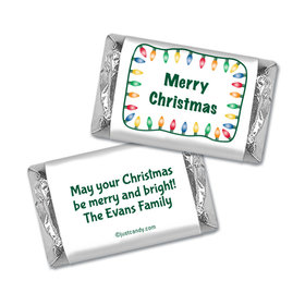 Christmas Personalized Hershey's Miniatures Wrappers Multi Colored Christmas Lights