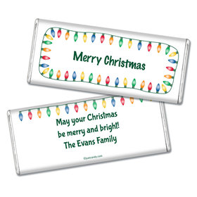 Christmas Personalized Chocolate Bar Multi Colored Christmas Lights