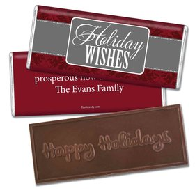 Happy Holidays Personalized Embossed Chocolate Bar Baroque Pattern Holiday Wishes
