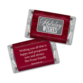 Happy Holidays Personalized Hershey's Miniatures Wrappers Baroque Pattern Holiday Wishes