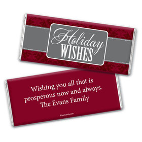 Happy Holidays Personalized Chocolate Bar Wrappers Baroque Pattern Holiday Wishes