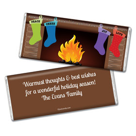Christmas Personalized Chocolate Bar Stockings Hung by Fireplace