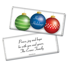 Christmas Personalized Chocolate Bar Happy Holidays Ornaments